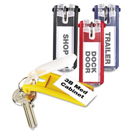 Durable Key Tags for Locking Key Cabinets, Plastic, 1 1/8 x 2 3/4, Assorted, 24/Pack -DBL194900