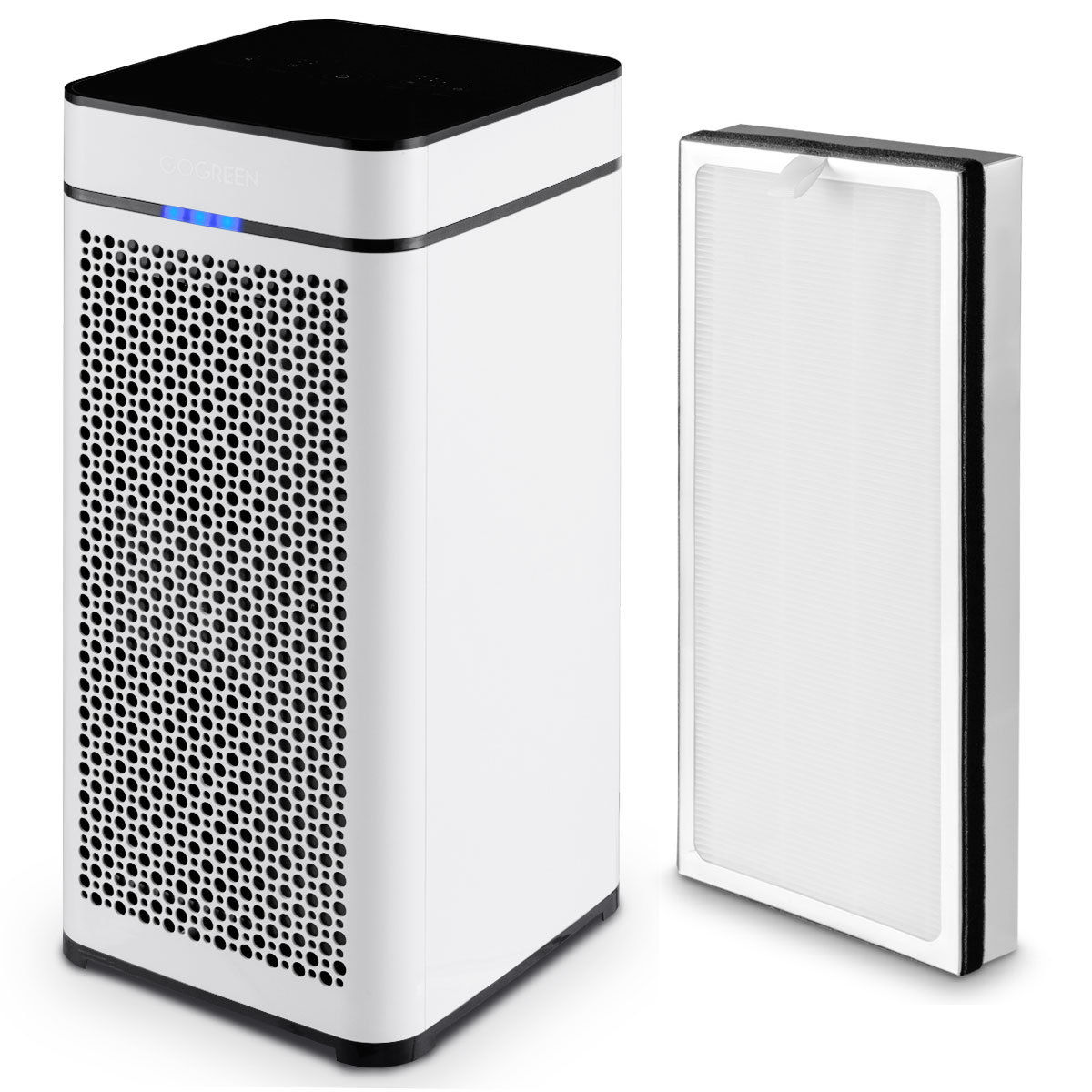 Gymax Air Purifier W/ 2 True HEPA Filter Activated Carbon Filter Air Cleaner 430sp.ft