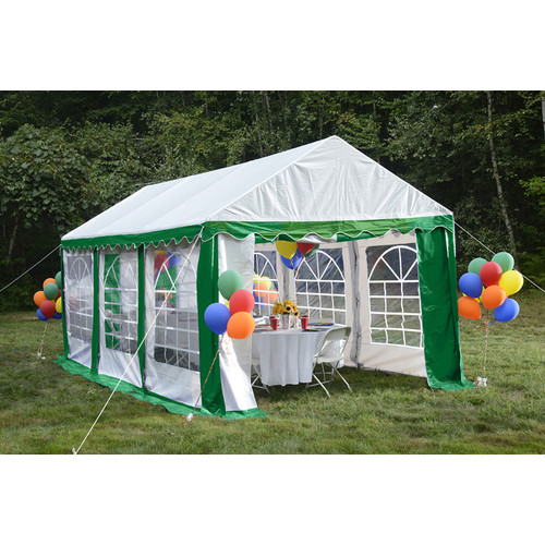 Enclosure Kit with Windows for Party Tent 10' x 20'/3m x 6m, Green/White (Frame and Cover Not Included)