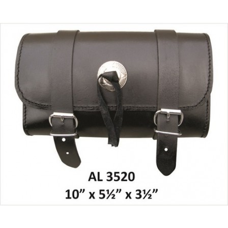 Motorcycle Luggage Travel Medium Plain Leather Tool Bag With Silver Conchos