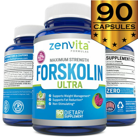 ZenVita Formulas Pure Forskolin Extract with 40% Standardized Forskolin - 90 Capsules, 300 mg, Appetite Suppressant, MAX Strength Belly Fat Burner, Carb Blocker, Natural Weight Loss Supplement