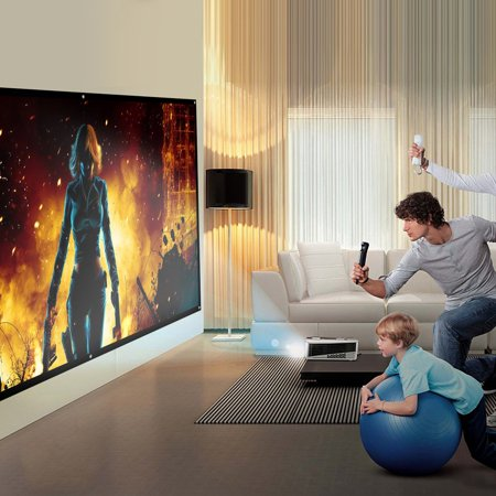 OUTAD YKS Reelable 120 Inch 16:9 PVC Home Cinema Movie Projector Projection Screen - image 3 of 13
