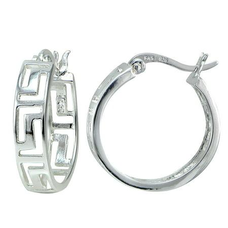 Mondevio  Sterling Silver Greek Key Hoop Earrings
