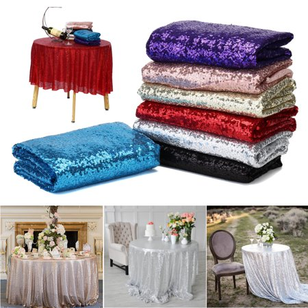 Meigar Round Sequin Tablecloth Classic Wedding Tablecloth Table Overlays Perfect for Party Cake Dessert Table Exhibition Events Decorations 70.87'' - Halloween Dessert Table Setup