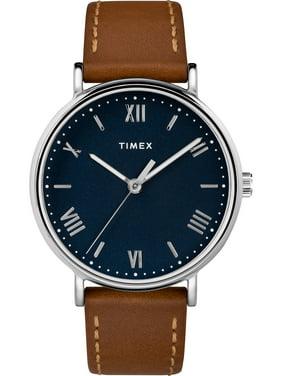 Men's Southview 41 Tan/Silver-Tone/Blue Watch, Leather Strap