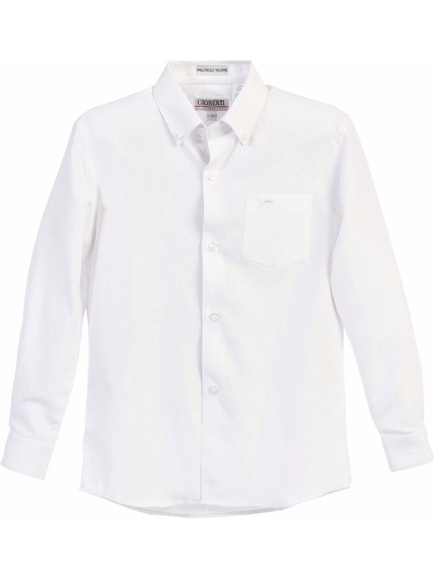 Gioberti Boys White Chest Pocket Long Sleeved Oxford Dress Shirt