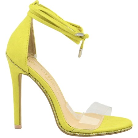 cee1816e0f8fb1 So Me - Blazzie Women Tie Up Stiletto High Heel Sandals Studs Clear PVC  Strap Yellow - Walmart.com