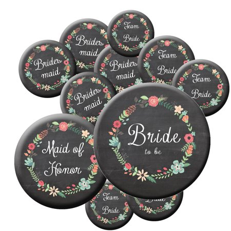 16 Chalkboard Team Bride Buttons - Bachelorette Buttons - Bridal Party Buttons - Chalkboard Wedding - Rustic Wedding for $<!---->