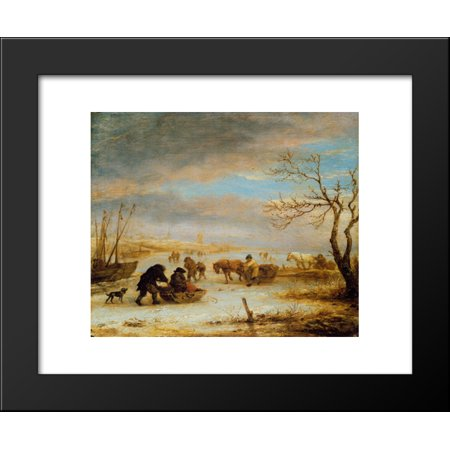 Frozen Ice Landscape with Carriages and Boats 20x24 Framed Art Print by Ostade, Isaac van - Love Boat Isaac