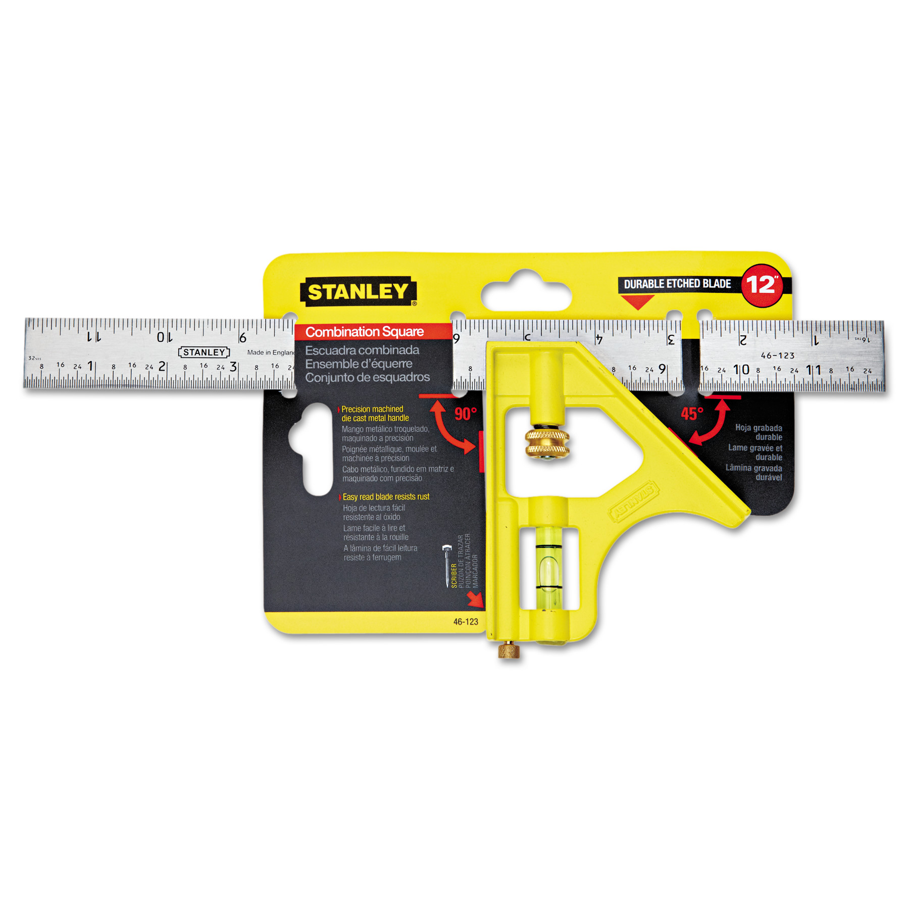 """Stanley Tools Combination Square, Steel, 12"""", Yellow/Chrome"""