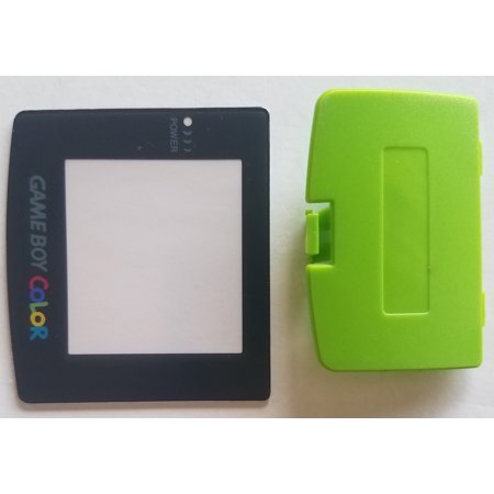 (Nintendo Game Boy Color Replacement Screen Lens + Lime Green Battery Cover)