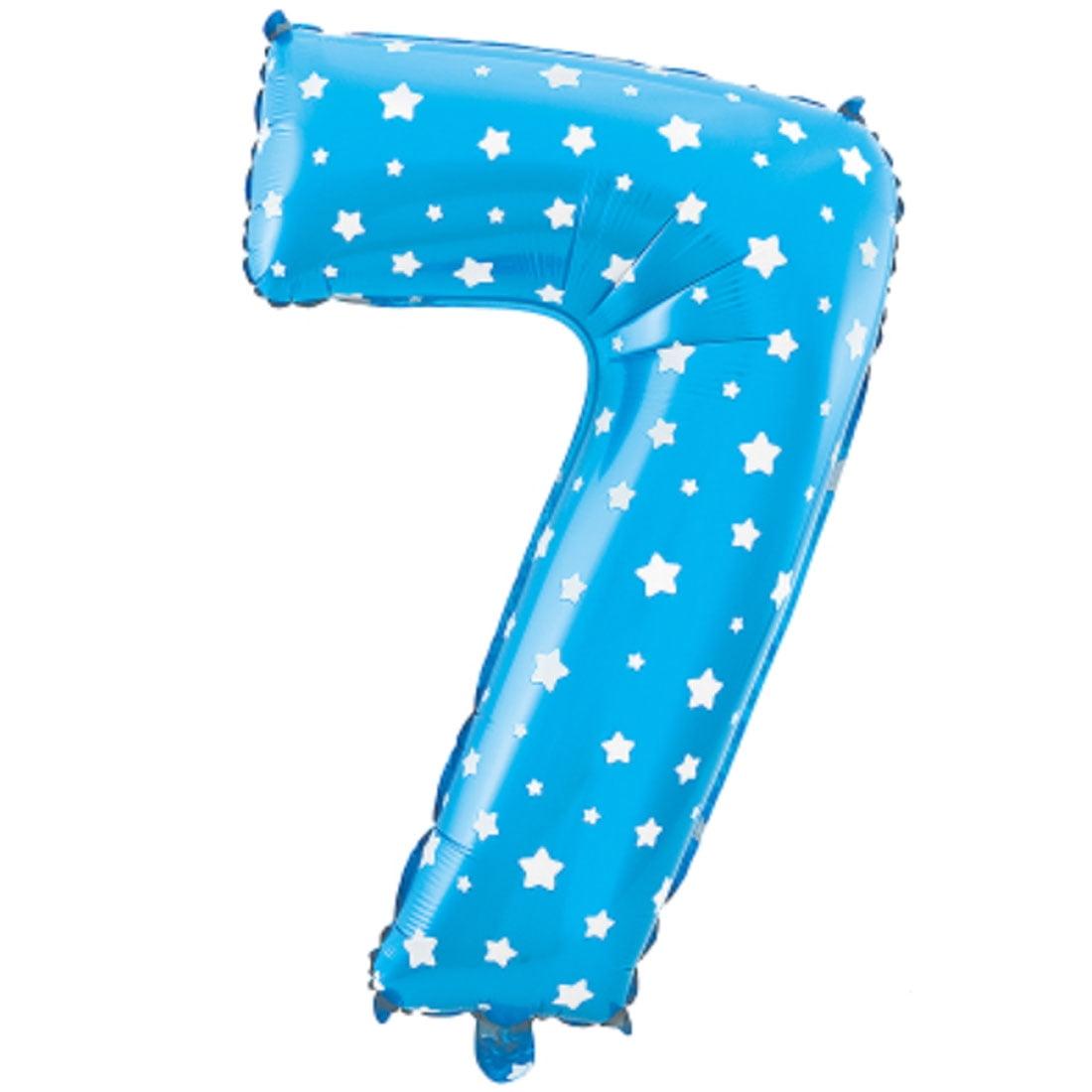 "Unique Bargains 16"" Blue Foil Number 7 Shape Balloon Helium Birthday Wedding Decor"