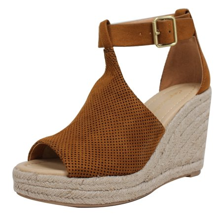 72cacc4d4ac Cityclassified - City Classified Women s Peep Toe Perforated Ankle Strap  Espadrilles Wedge (British Tan
