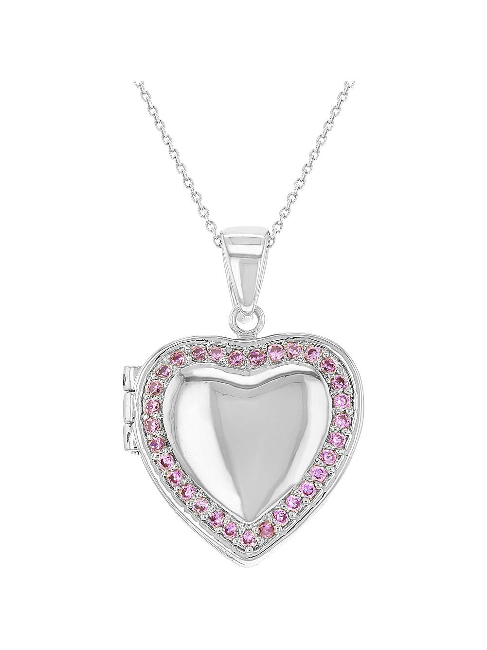 "Rhodium Plated Pink Crystal Heart Photo Locket Pendant Necklace Girls 18"""