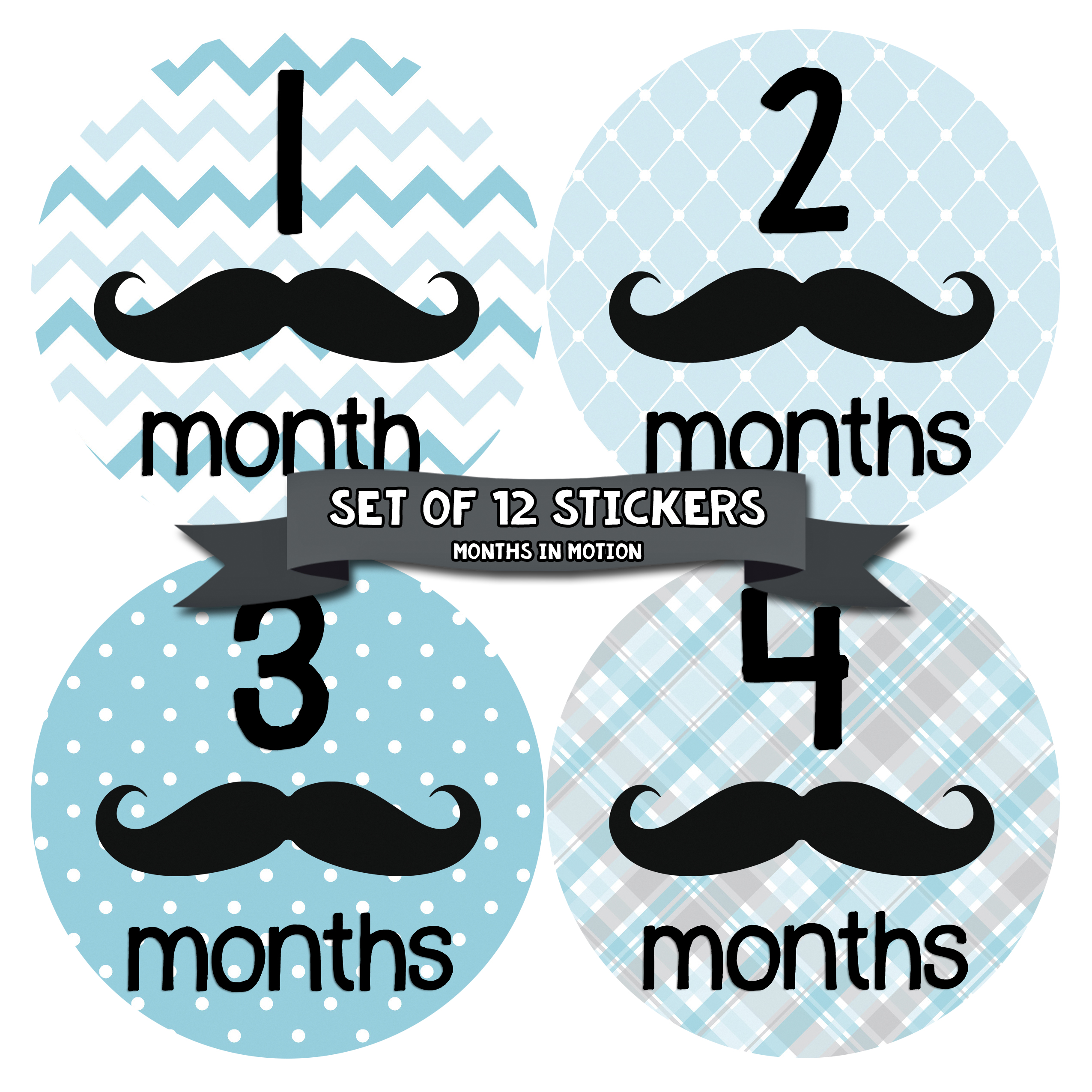 Months in Motion 160 Monthly Baby Stickers Baby Boy 12 Month Milestone Mustache