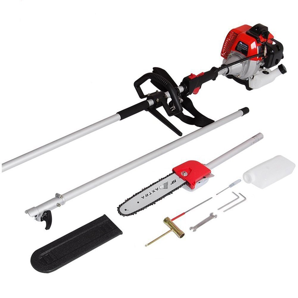 Maxtra 42.7CC 2 Stroke 1.5HP 1100W Gas Pole Chainsaw Pruner Trimmer with Adjustable Length 11.35 Feet to 8.2 Feet