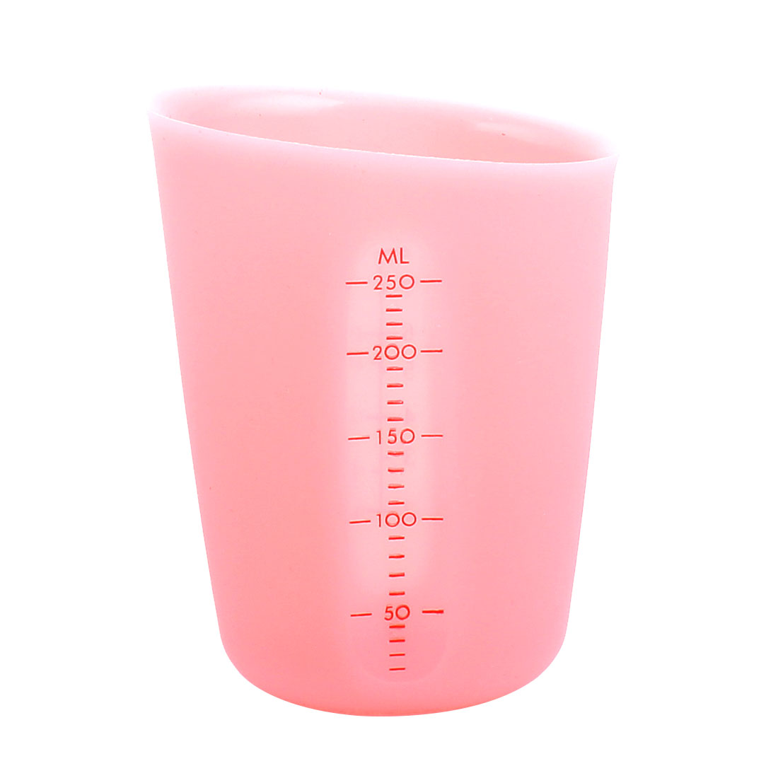 250ml Capacity Silicone Food Liquid Kitchen Measuring Cup Pink by Unique-Bargains