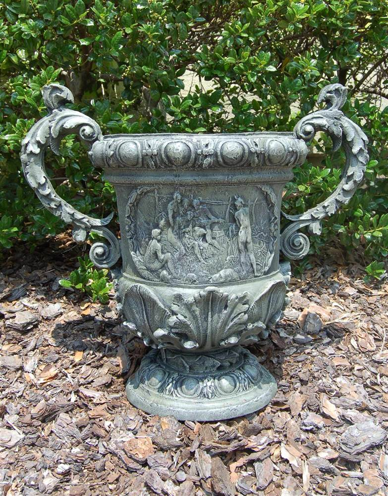 Weather Resistant Figured Urn in Moss Finish by CPI Inc