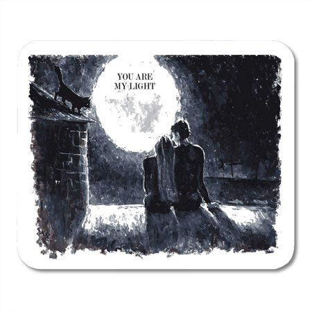 JSDART Black and White Watercolor of Loving Couple Sitting Mousepad Mouse Pad Mouse Mat 9x10 inch - image 1 de 1