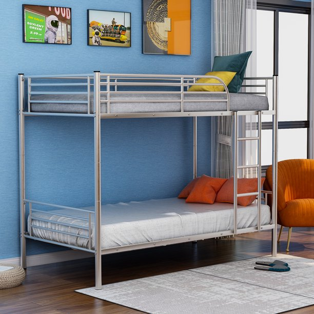 Merax Twin Over Twin Metal Bunk Bed, Multiple Colors