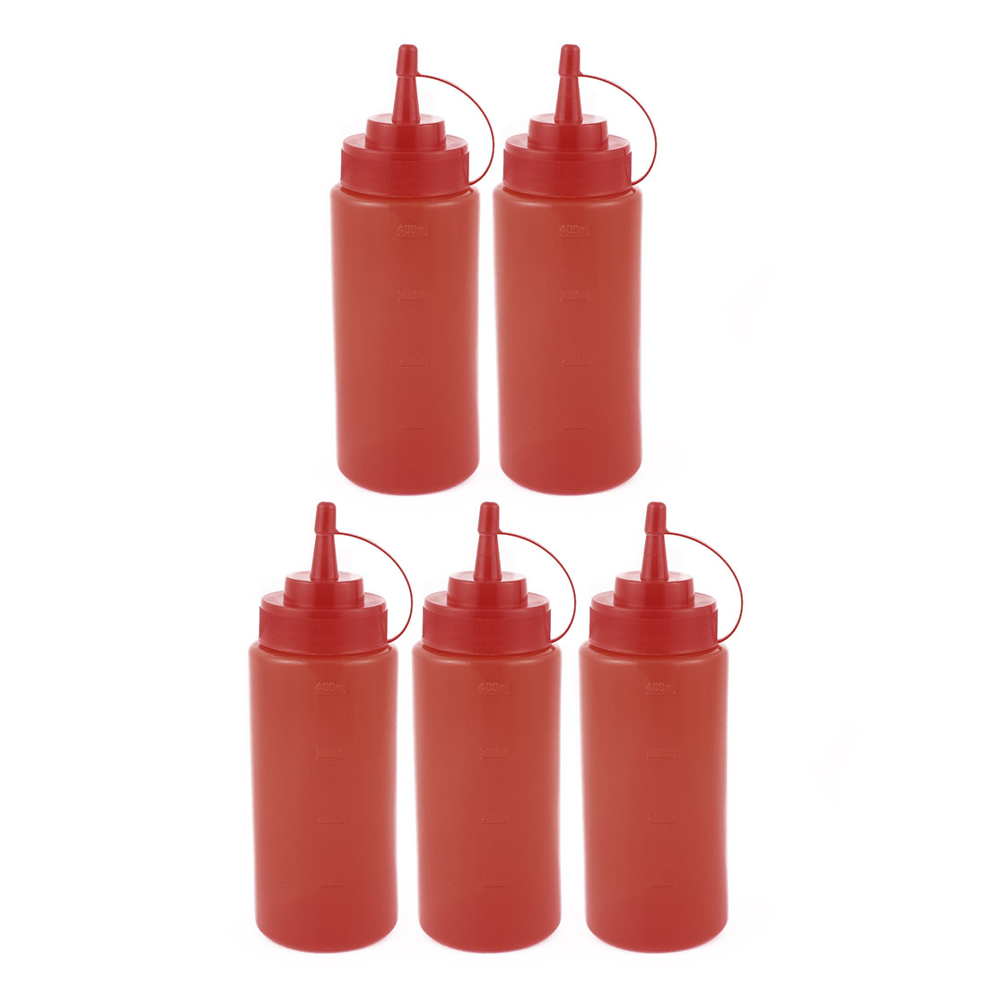 5Pcs 400ml Kitchen Plastic Squeeze Bottles Condiment Ketchup Mustard Oil Salt by