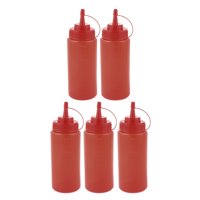 5Pcs 400ml Kitchen Plastic Squeeze Bottles Condiment Ketchup Mustard Oil Salt