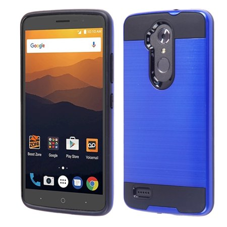 Zte Max Xl Phone Case  By Insten Hard Dual Layer Brushed Tpu Cover Case For Zte Max Xl N9560   Blue Black