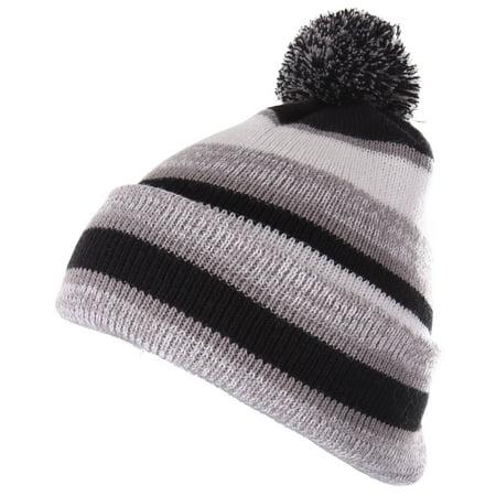 c83b11483 Enimay Winter Pom Pom Knit Beanie Cuffed Skull Cap Striped Team Beanie  Black | Silver One Size