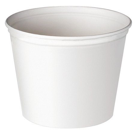 128 Oz Bucket (SOLO Cup Company Double Wrapped Paper Bucket, Unwaxed, White, 53 oz, 50/Pack )