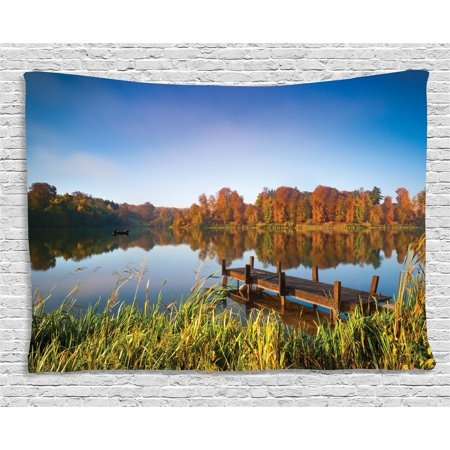Scenery Decor Tapestry, Lake View Fishing Countryside Themed with Trees and Long Reeds Art Photo , Wall Hanging for Bedroom Living Room Dorm Decor, 60W X 40L Inches, Multicolor, by - Fishing Themed Wedding