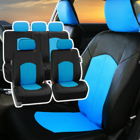 FH Group Perforated Leather Seat Covers For Auto Car Sedan SUV Van Full Set With 5 Headrest 8 Colors