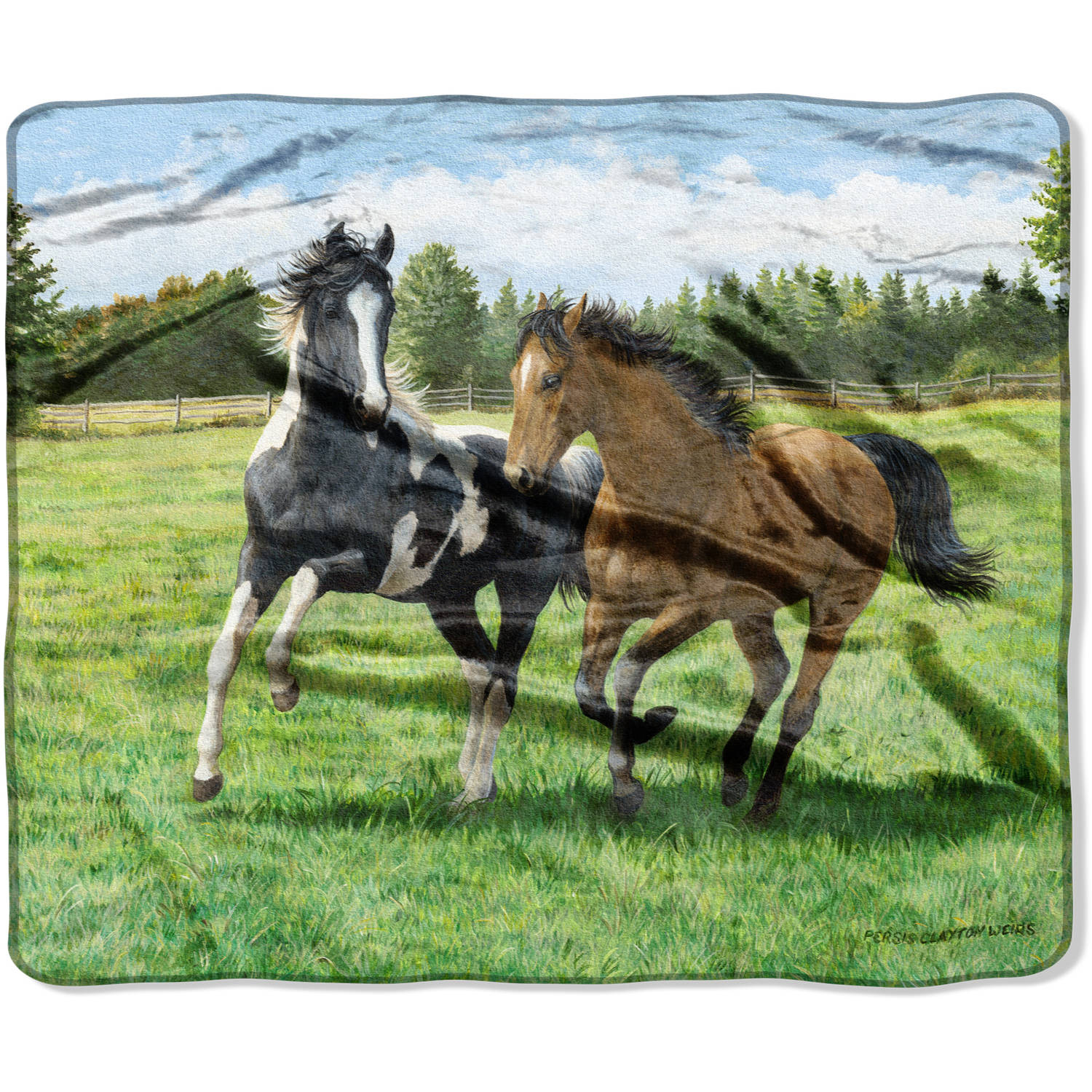 "American Heritage Wilderness Collection Featuring Persis Clayton Weirs' ""Race is On"" 50"" x 60"" Royal Plush Raschel Throw"