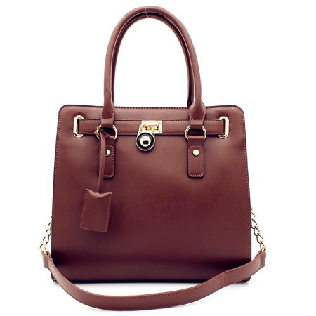 Designer Inspired Fashion Satchel Top-Handle Handbag With Padlock In Multi (Designer Inspired Fashion)