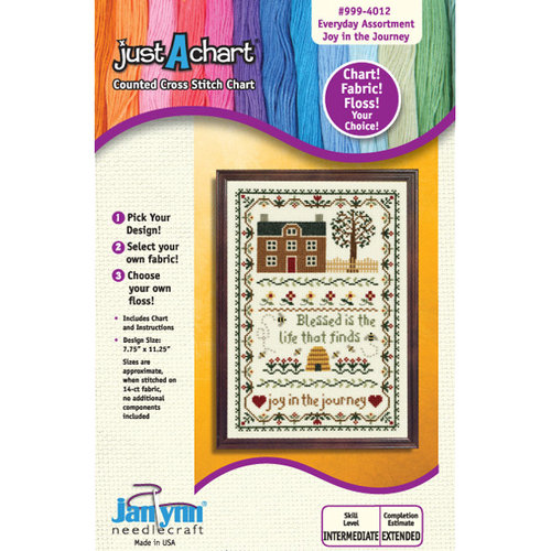 "Janlynn Just-A-Chart ""Joy in the Journey"" Counted Cross Stitch Chart"