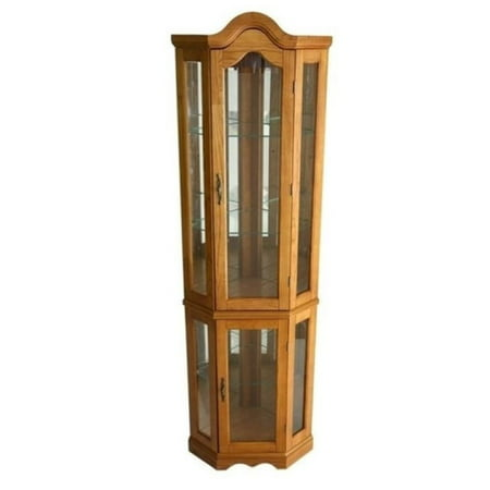 Bowery Hill Corner Curio Cabinet with Light in Golden Oak