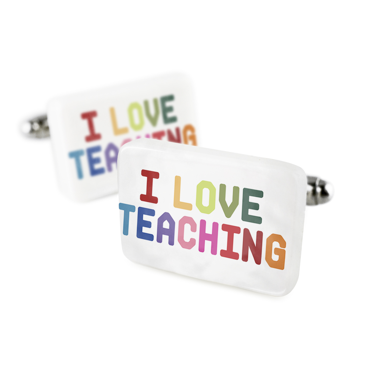 Cufflinks I Love Teaching,ColorfulPorcelain Ceramic NEONBLOND