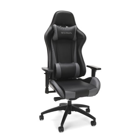 RESPAWN-105 Racing Style Gaming Chair - Reclining Ergonomic Leather Chair, Office or Gaming Chair, Gray