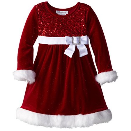 Bonnie Jean Little Girls' Sparkle Stretch Santa Dress, Red, 6