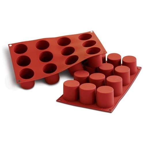 """Silicone Bakeware, Cylinder with Dividing Ring 2.8 Oz, 1.89"""" Dia x 1.97"""" High, 12 Cavities"""