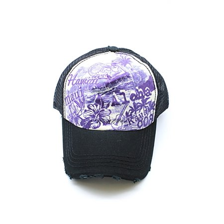 Hawaii Post Aloha Maui Kauai 808 Printed Mesh Back Cap Hat in (Mesh Back Hat Cap)
