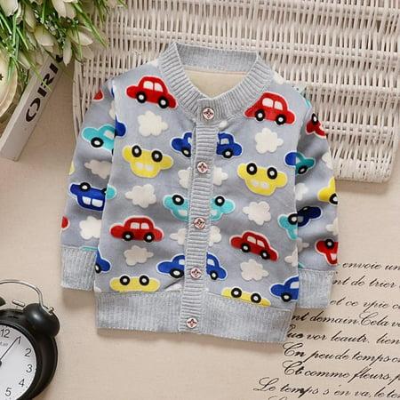 Winter & Autumn Baby Boy Coats Knit Cardigan Warm Cartoon Car Pattern Button Plus Cashmere