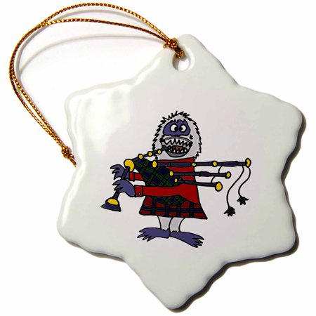Spinning Snowflake Snowman (3dRose Funny Abominable Snowman Playing the Bagpipes - Snowflake Ornament,)