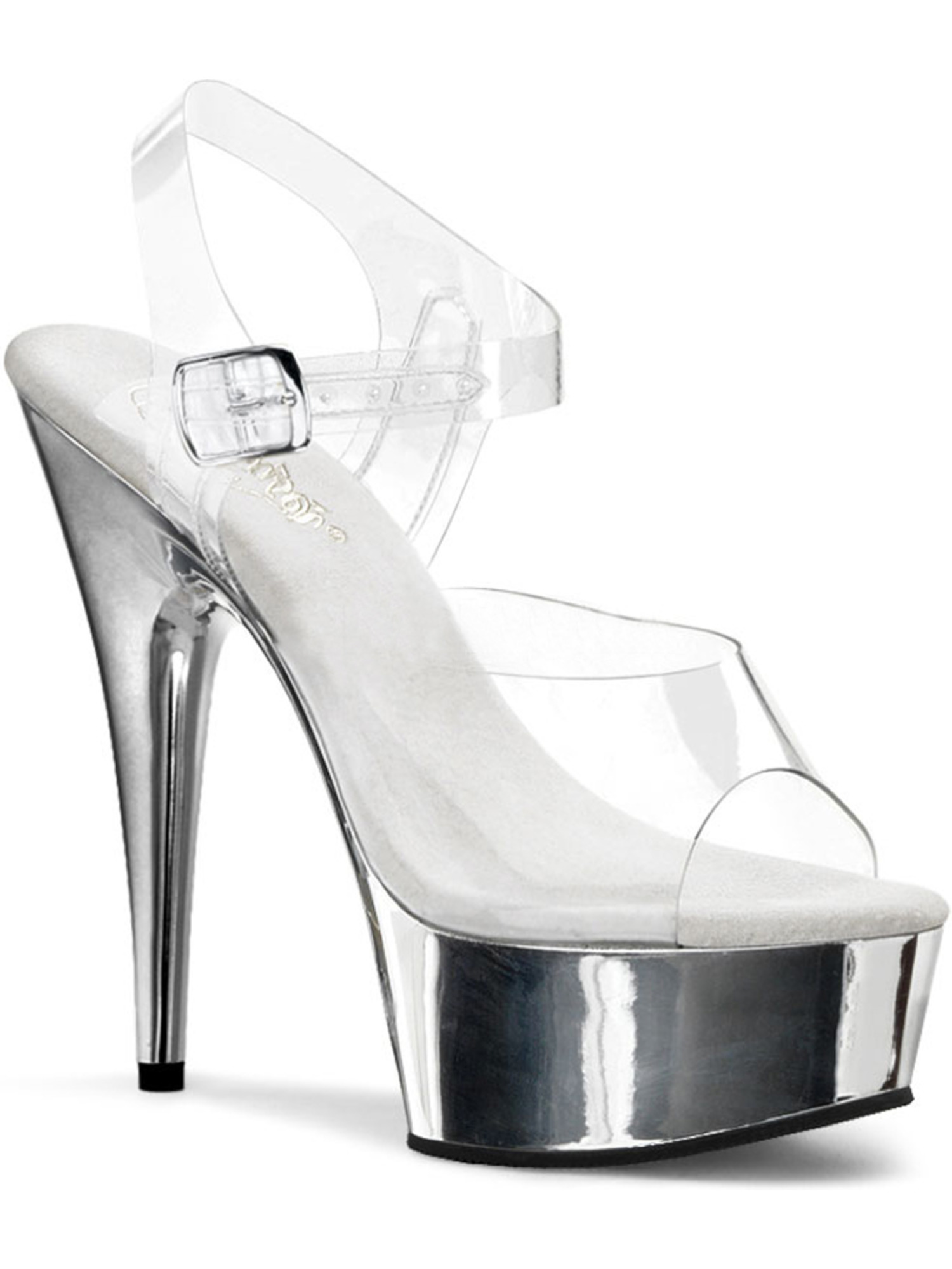Womens 6 Inch Heels Clear Metallic Shoes Ankle Strap Open Toe Platform Sandals