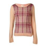 Maison Jules Women's Beaded Plaid Knit Sweater (S, Pearl Blush Combo)
