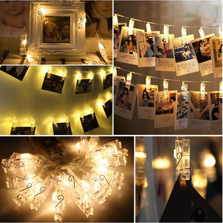 EEEKit 7.8ft Waterproof 20 LED Photo String Lights Clips Battery Powered Fairy Wedding Party Christmas Home Decor for Hanging Photos Cards and Artwork, Ideal Gift Photo Clip Holder (Warm White)