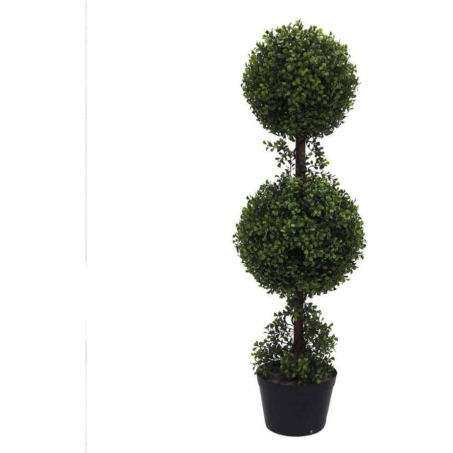 Vickerman 3' Artificial Double Ball Green Boxwood Topiary Potted in a Black Planters Pot, UV-Resistant