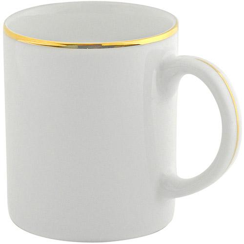 10 Strawberry Street Gold Line 10 oz C-Handle Mugs, Set of 4, White with Gold Border