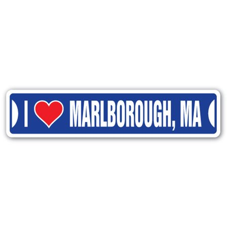I LOVE MARLBOROUGH, MASSACHUSETTS Street Sign ma city state us wall road décor (Stores In Marlborough Ma)