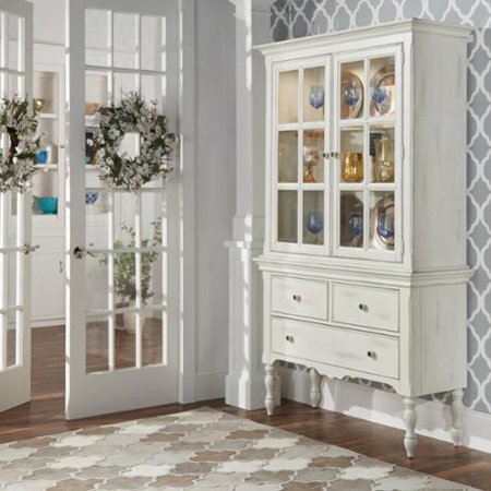 iNSPIRE Q McKay Country Antique White Display Buffet Storage China Cabinet  by Classic - INSPIRE Q McKay Country Antique White Display Buffet Storage China