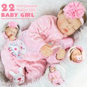 "22"" 55cm Handmade Soft Silicone Vinyl Real Life Reborn Girl Baby Doll Pink Clothes Sleeping Newborn Toy"